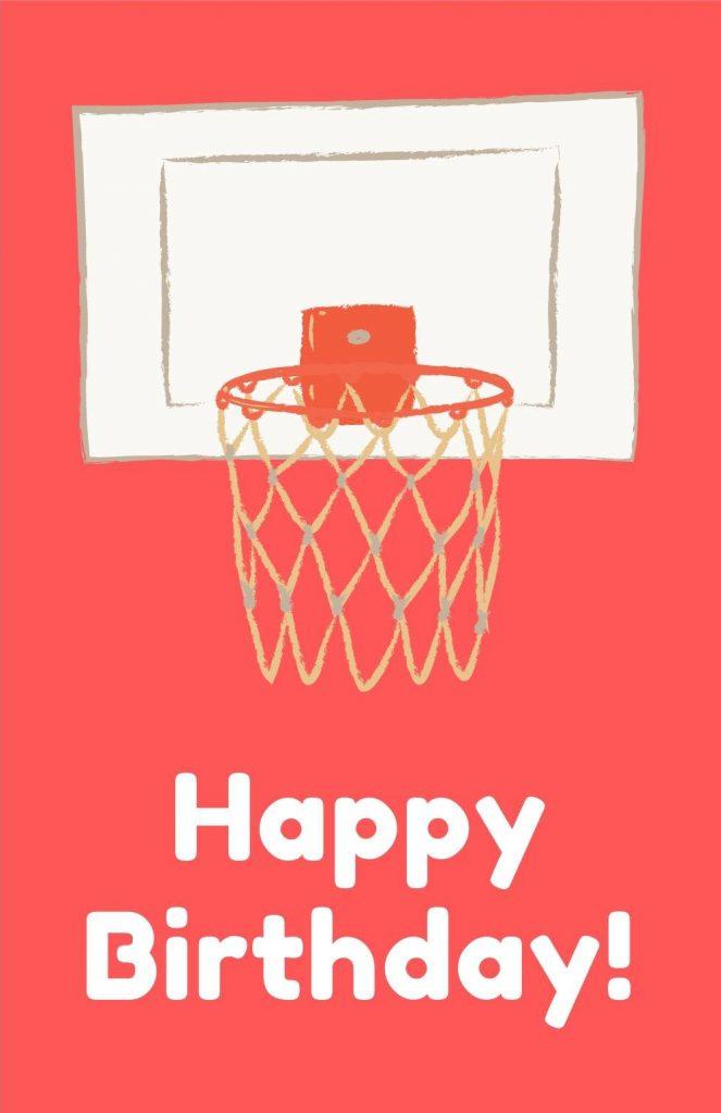 printable birthday card - basketball hoop